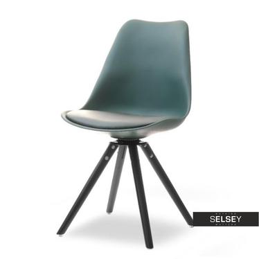 LUIS ROT Chaise pivotante vert sarcelle pieds noirs