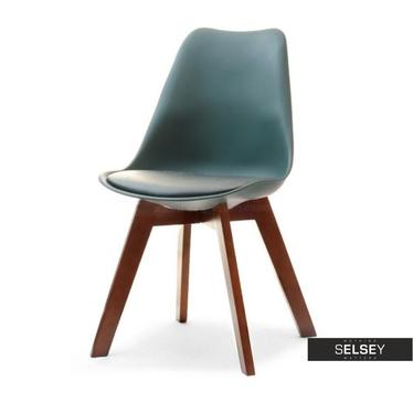 LUIS BOIS Chaise scandinave vert sarcelle pieds noyer