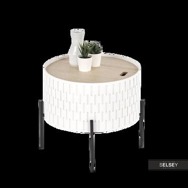 SYMPHONY Table basse avec rangement Ø 35 cm blanche