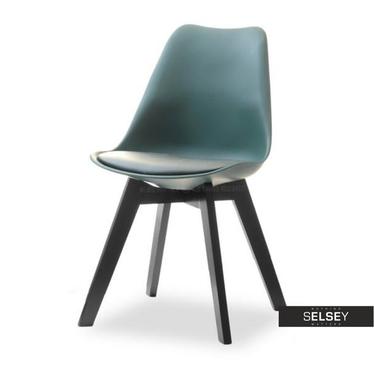 LUIS BOIS Chaise scandinave vert sarcelle pieds noirs