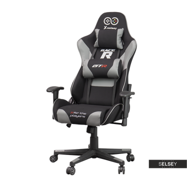 RACER GTR Chaise gamer avec coussins noir / gris