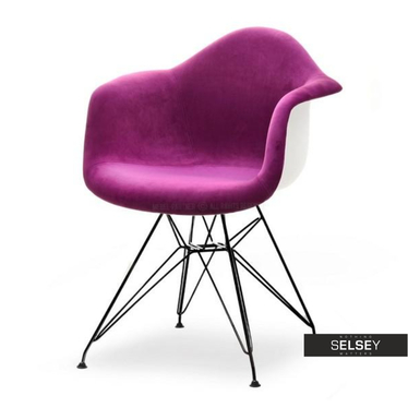 MPA ROD TAP Chaise en velours violet / noir