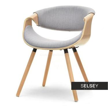 BENTE Chaise tapissée chêne / gris