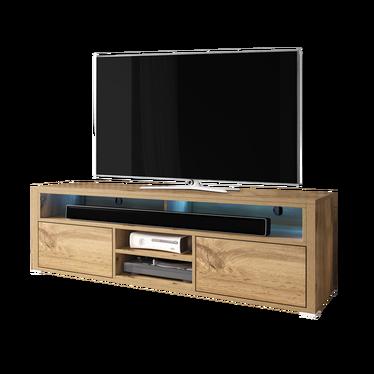 Selsey Inchel 139 cm, Noir Mat//Noir Brillant, avec LED Meuble TV//Banc TV