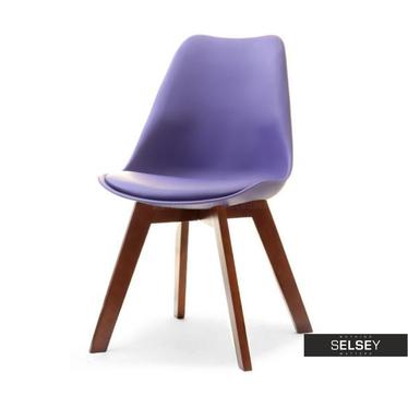 LUIS BOIS Chaise scandinave violette pieds noyer