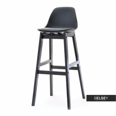 ELMO Chaise de bar scandinave noire pieds en bois noir