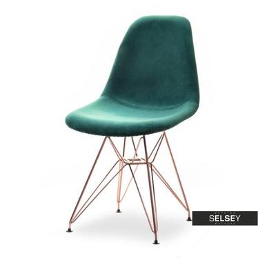 MPC ROD TAP Chaise en velours vert / cuivre
