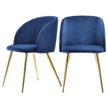 GARY Chaise vintage en velours bleu / cuivre