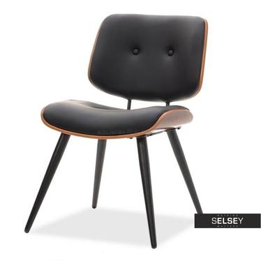 MAGUISE Chaise matelassée noir / noyer avec boutons