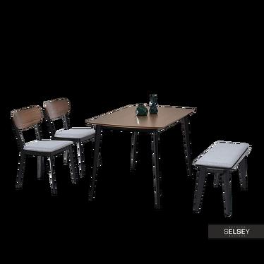 FIGARO Table noyer / noir avec chaises et banc