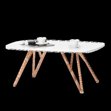 RUBIS Table basse blanche et en cuivre 110x60 cm