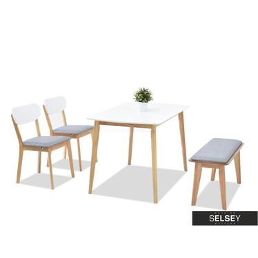 FIGARO Table blanc / chêne avec chaises et banc