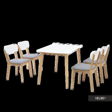 RASTO Table blanc / chêne avec chaises