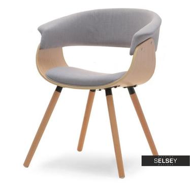 ELINA Chaise en bois chêne clair / gris
