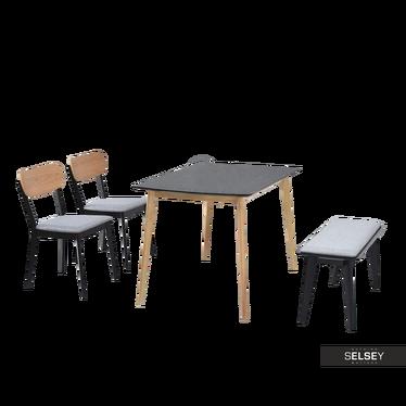 FIGARO Table noir / chêne avec chaises et banc