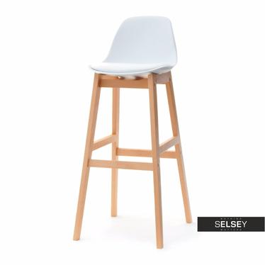 ELMO Chaise de bar scandinave blanche pieds en bois