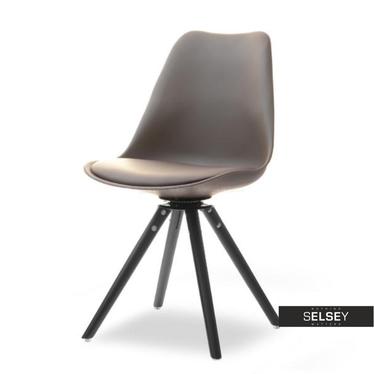 LUIS ROT Chaise pivotante brune pieds noirs