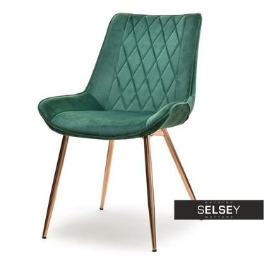 ADEL VELVET Chaise vintage vert / cuivre