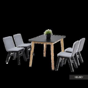 MODERO Table noir / chêne avec chaises
