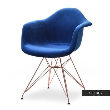 MPA ROD TAP Chaise en velours bleu marine / cuivre