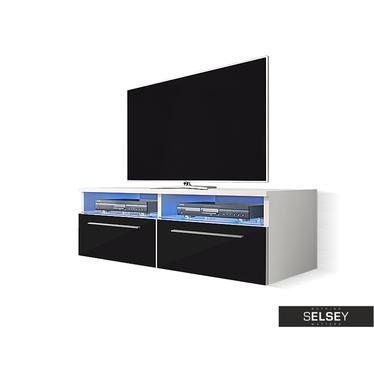 SIENA Meuble TV tablettes en verre