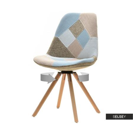 LOUIS Chaise pivotante hêtre / patchwork