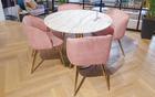 GARY Lot de 2 chaises vintage en velours rose / or