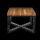 TARUNI Table basse 100 x 100 cm plateau laqué en cerisier slim sur pieds noirs