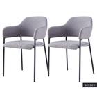 AZHAI Lot de 2 chaises tapissées avec accoudoirs gris